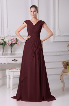 Burgundy Elegant A-line V-neck Short Sleeve Chiffon Floor Length Prom Dresses