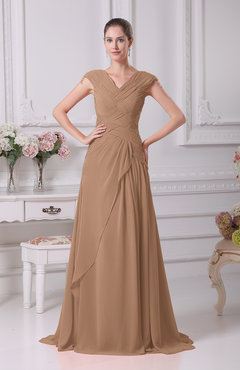 Burnt Orange Elegant A-line V-neck Short Sleeve Chiffon Floor Length Prom Dresses
