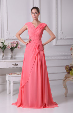 Coral Elegant A-line V-neck Short Sleeve Chiffon Floor Length Prom Dresses