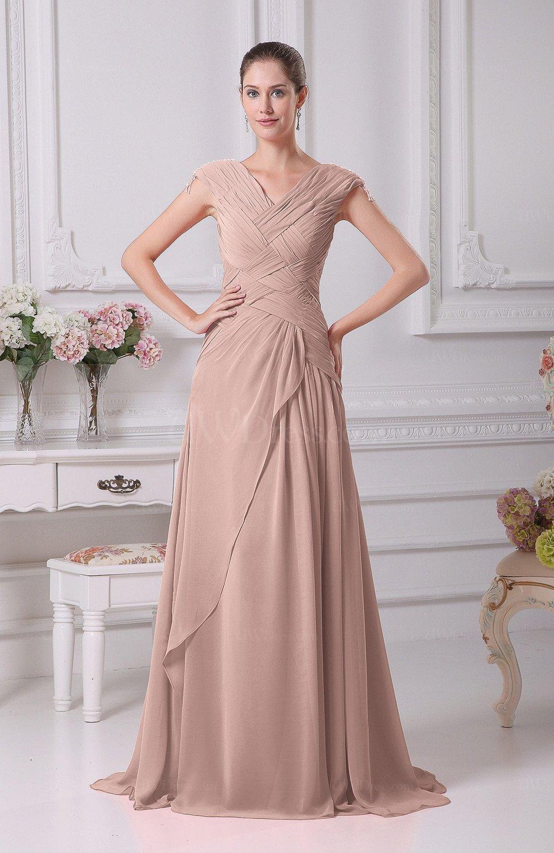 Dusty Rose Elegant A Line V Neck Short Sleeve Chiffon