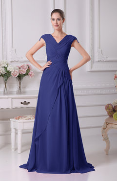 Electric Blue Elegant A-line V-neck Short Sleeve Chiffon Floor Length Prom Dresses