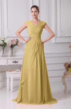 Gold Elegant A-line V-neck Short Sleeve Chiffon Floor Length Prom Dresses