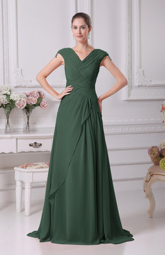Hunter Green Elegant A-line V-neck Short Sleeve Chiffon Floor Length Prom Dresses