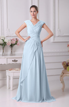 floor length blue dress with sleeves