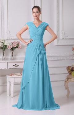 Light Blue Elegant A-line V-neck Short Sleeve Chiffon Floor Length Prom Dresses