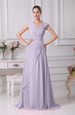 Light Purple Elegant A Line V Neck Short Sleeve Chiffon Floor Length Prom Dresses