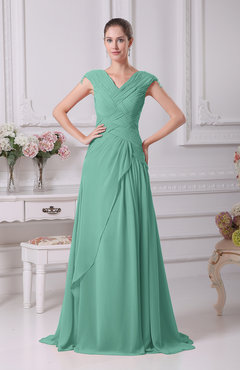 Mint Green Elegant A-line V-neck Short Sleeve Chiffon Floor Length Prom Dresses