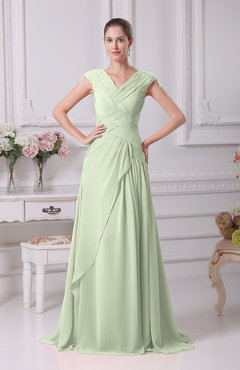 Pale Green Elegant A-line V-neck Short Sleeve Chiffon Floor Length Prom Dresses