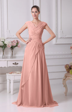 Peach Elegant A-line V-neck Short Sleeve Chiffon Floor Length Prom Dresses