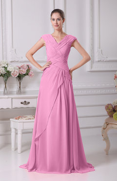 Pink Elegant A-line V-neck Short Sleeve Chiffon Floor Length Prom Dresses