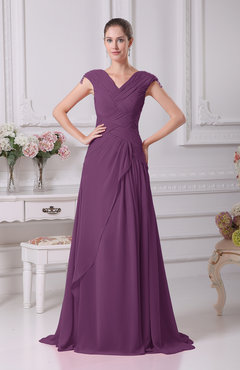 Raspberry Elegant A-line V-neck Short Sleeve Chiffon Floor Length Prom Dresses