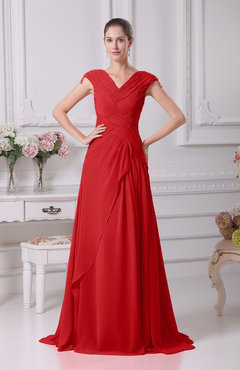 Red Elegant A-line V-neck Short Sleeve Chiffon Floor Length Prom Dresses