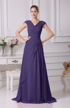 Royal Purple Elegant A-line V-neck Short Sleeve Chiffon Floor Length Prom Dresses