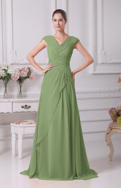 Sage Green Elegant A-line V-neck Short Sleeve Chiffon Floor Length Prom Dresses