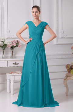 Teal Elegant A-line V-neck Short Sleeve Chiffon Floor Length Prom Dresses
