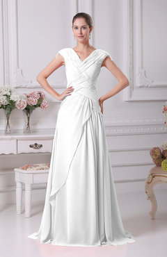 White Elegant A-line V-neck Short Sleeve Chiffon Floor Length Prom Dresses