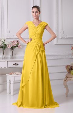 Yellow Elegant A-line V-neck Short Sleeve Chiffon Floor Length Prom Dresses