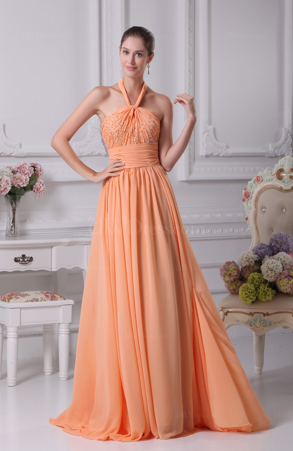 apricot casual sheath halter sleeveless floor length
