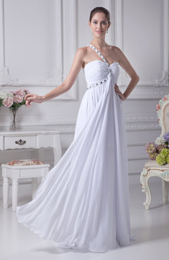 White Romantic Garden One Shoulder Sleeveless Zip up Chiffon Bridal Gowns