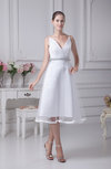 Informal Beach A-line Spaghetti Sleeveless Tea Length Bridal Gowns