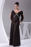 Sexy 3/4 Length Sleeve Zipper Silk Like Satin Floor Length Rhinestone Bridesmaid Dresses