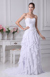 Romantic Garden Sweetheart Sleeveless Chiffon Brush Train Appliques Bridal Gowns