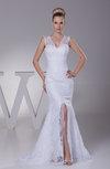 Modern Garden Illusion Sleeveless Zipper Split-Front Bridal Gowns