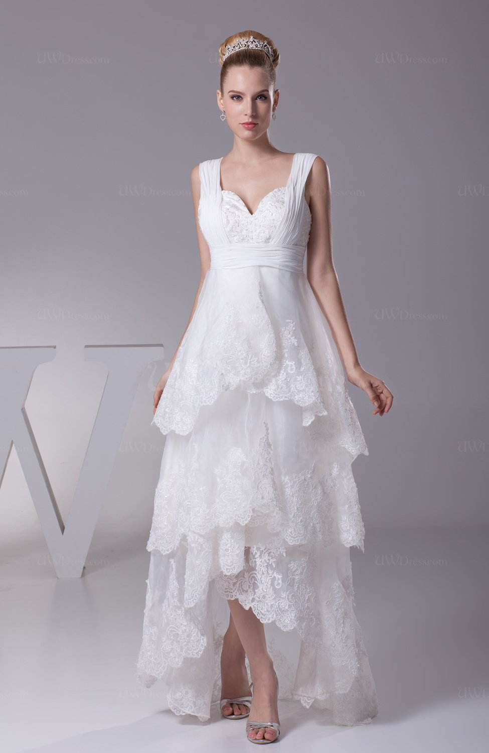 White informal garden a line thick straps hi lo beaded for Picture of a wedding dress