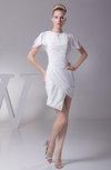Modern Sheath Jewel Short Sleeve Chiffon Ruching Club Dresses