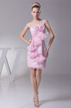Elegant Column One Shoulder Sleeveless Lace Club Dresses