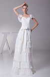 Modest Beach Zip up Chiffon Floor Length Tiered Bridal Gowns