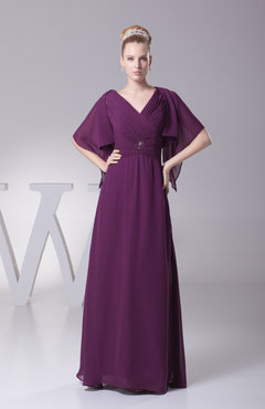 Raspberry Elegant A-line Elbow Length Sleeve Zip up Floor Length Evening Dresses