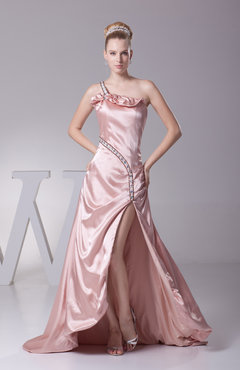 Blush Sexy A-line One Shoulder Silk Like Satin Brush Train Split-Front Evening Dresses