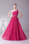 Modest A-line One Shoulder Zip up Floor Length Evening Dresses