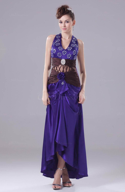 Dark Purple Modern Sheath Halter Silk Like Satin Tea