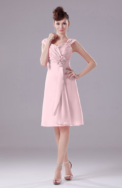 Blush Elegant A-line Thick Straps Chiffon Knee Length Party Dresses