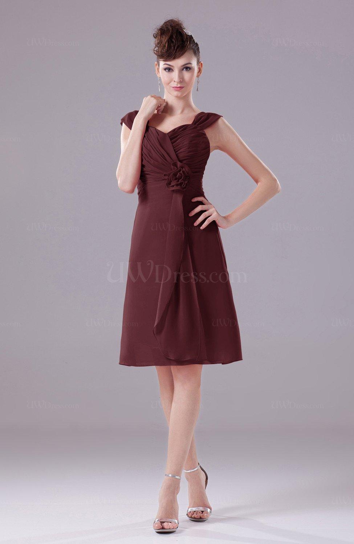 Burgundy Elegant A Line Thick Straps Chiffon Knee Length