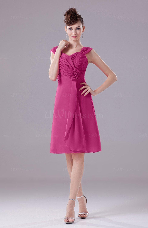 Hot Pink Elegant A Line Thick Straps Chiffon Knee Length