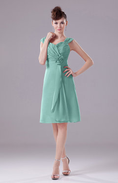 Mint Green Elegant A-line Thick Straps Chiffon Knee Length Party Dresses
