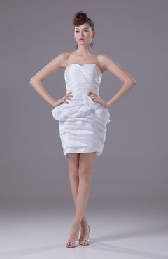 White Informal Destination Sweetheart Sleeveless Taffeta Ruching Bridal Gowns