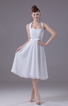 White Informal Beach A-line Halter Sleeveless Tea Length Bridal Gowns