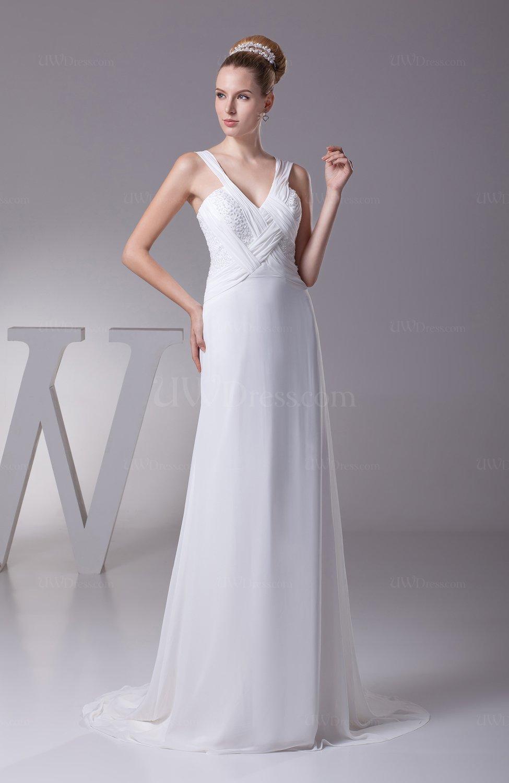 Modest hall sheath v neck sleeveless zipper chiffon bridal for Sheath chiffon wedding dresses