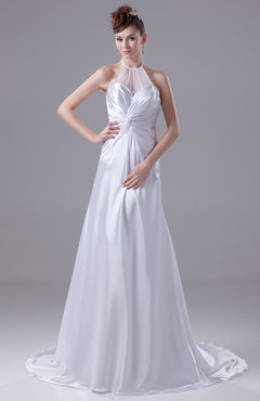 White Plain Garden Illusion Sleeveless Court Train Ruching Bridal Gowns
