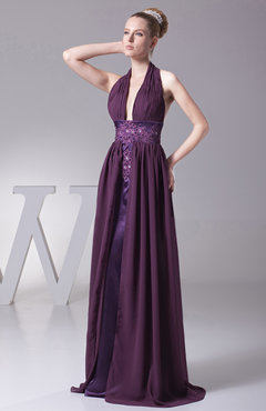 Plum Modern Halter Sleeveless Backless Brush Train Ruching Evening Dresses