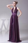 Modern Halter Sleeveless Backless Brush Train Ruching Evening Dresses