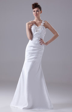 White Classic Garden A-line Thick Straps Zip up Appliques Bridal Gowns