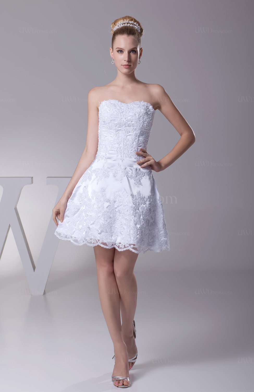 Casual hall sweetheart sleeveless lace up short lace Dresses for wedding reception