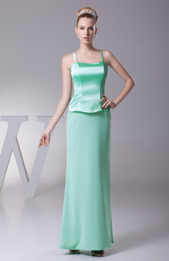 Mint Green Elegant Sheath Spaghetti Sleeveless Zipper Plainness Bridesmaid Dresses