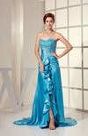Sexy Sleeveless Backless Silk Like Satin Court Train Ruffles Prom Dresses