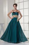 Modest Spaghetti Sleeveless Chiffon Floor Length Evening Dresses